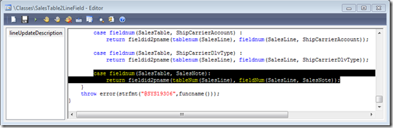 Modify the SalesTable2LineField.lineUpdateDescription method