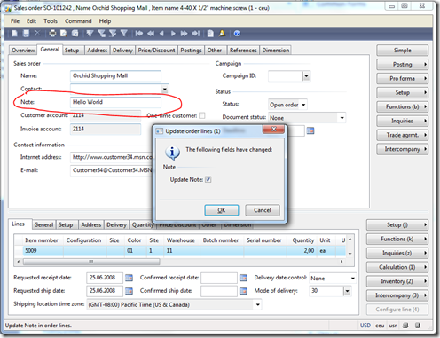 Modify the SalesNote value in a sales order