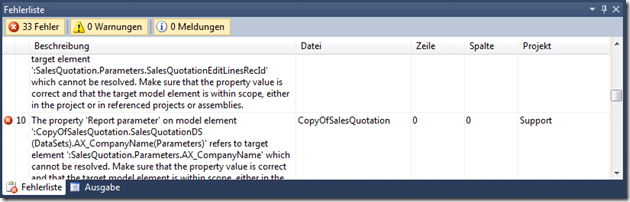 Errors when compiling a duplicated report
