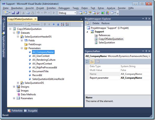 Dynamics AX 2012 duplicated report data set parameter