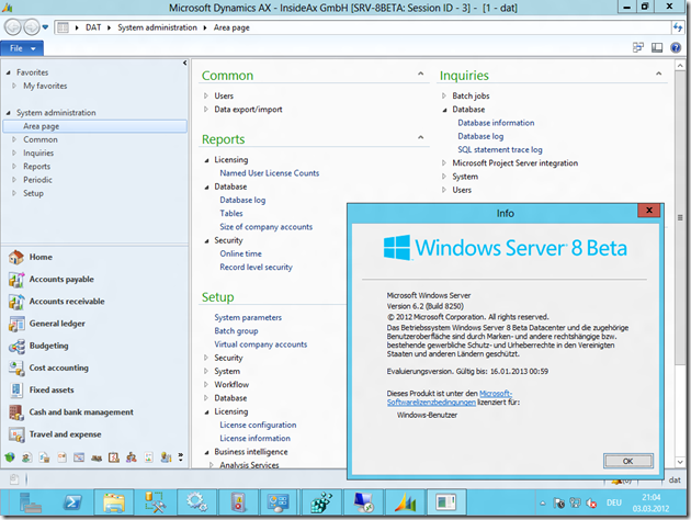 Dynamics AX 2012 on Server 8 Beta
