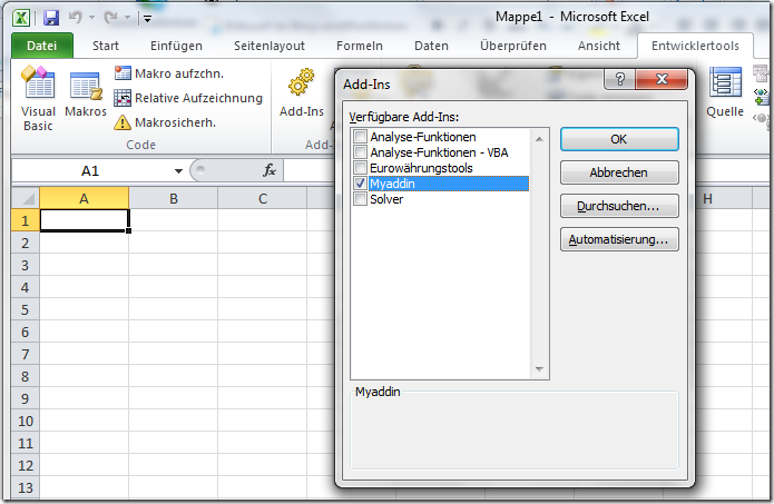 Load your Addin when Excel starts