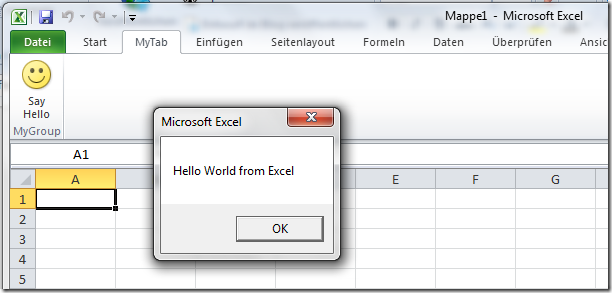 Custom Hello World Addin for Excel 2010