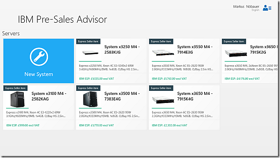 IBM Presales Advisor App for Windows 8