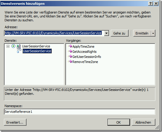 Check the UserSessionService WSDL in Visual Studio