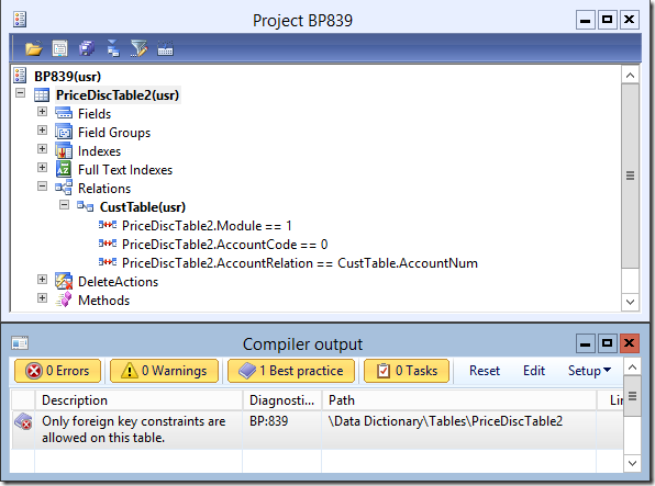 Dynamics Ax 2012 Best Practice Error 839