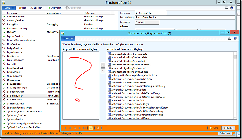 Missing activities in Dynamics AX AIF service