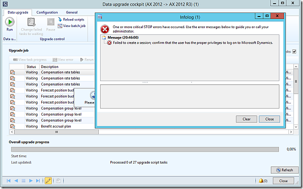 Dynamics AX Failed to Create Session