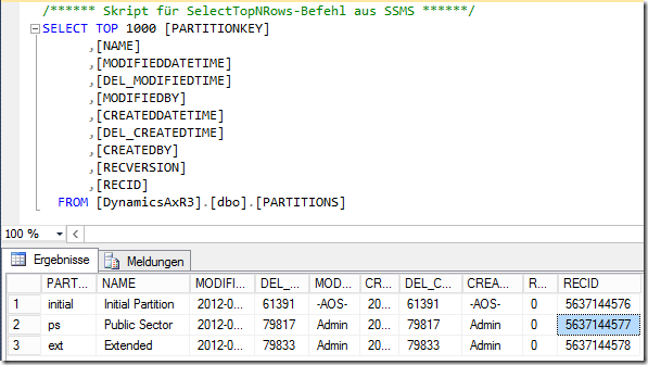 Three Partitions in Dynamics AX 2012 R3