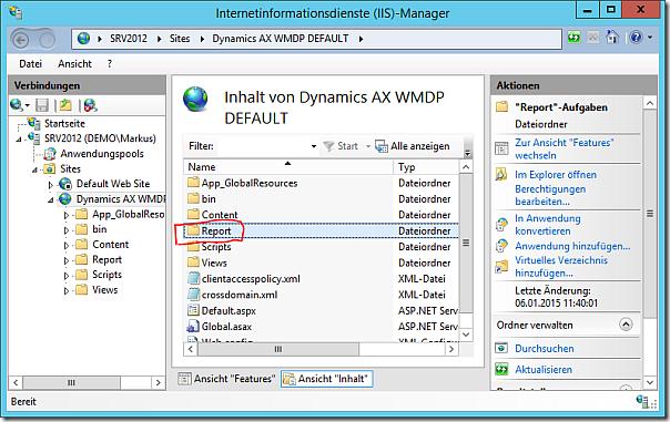 Report folder in Mobile Device Portal