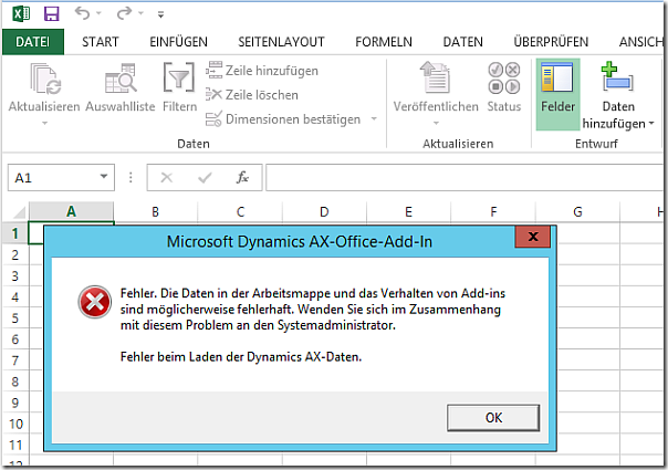 Query with aggregation functions fails in Dynamics AX Excel Addin