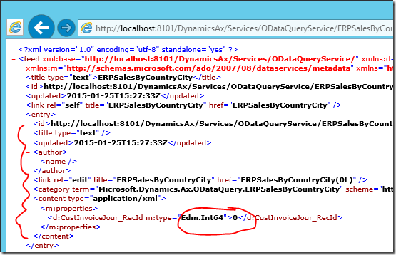 Dynamics AX OData XML feed has no data