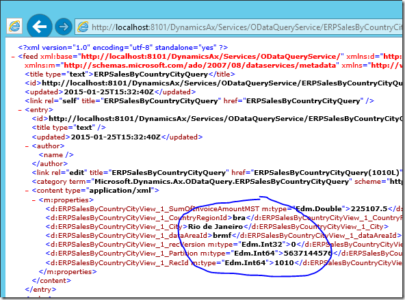 Dynamics AX OData XML feed with aggregated data
