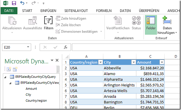 Dynamics AX Excel Addin with aggregated SUM data