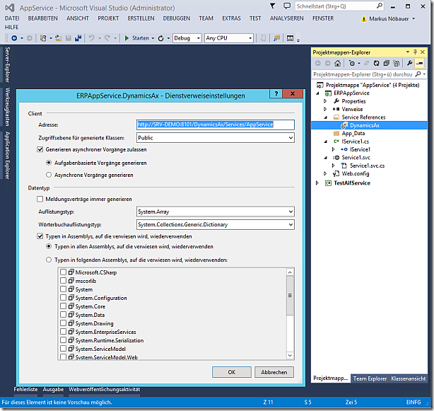 Add Dynamics Ax AIF Service as Service Reference