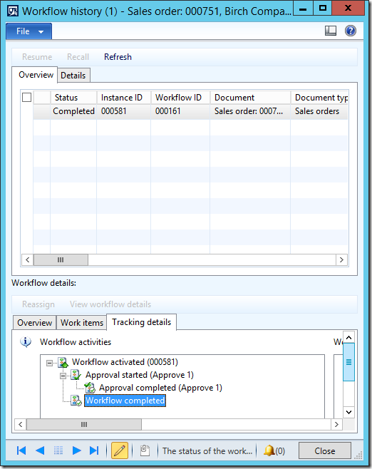 Dynamics Ax 2012 Workflow completed