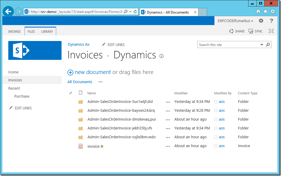 Dynamics Ax Invoice Document Library