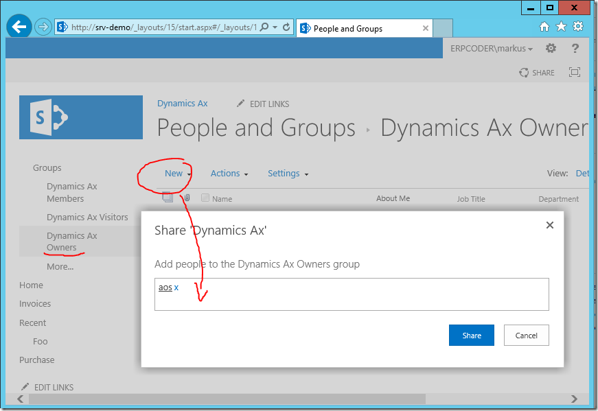 Provide AOS user access to SharePoint document library