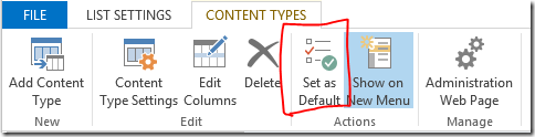 Set invoice as default content type
