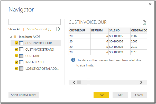 Select tables for Power BI