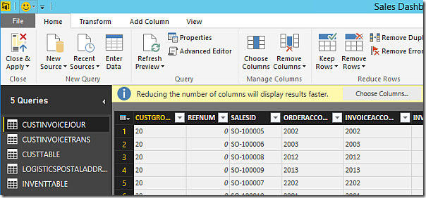 Choose columns for Power BI