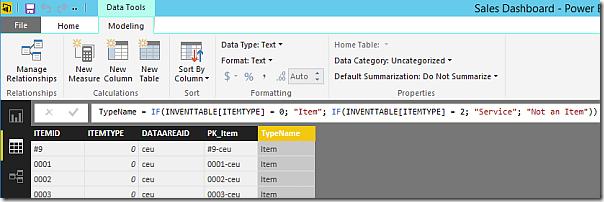 Name item type column