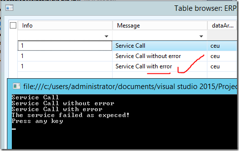Service call with error preserverd