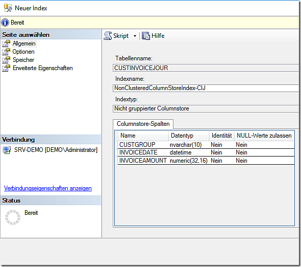 Create a Column Store Index in Dynamics AX 2012 R3 database