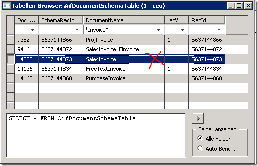 Delete the SalesInvoice record from the AIFDocumentSchemaTable