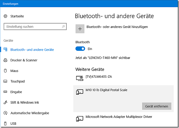 Dymo scale connected to a Windows 10 PC