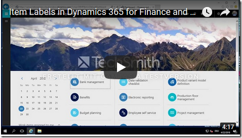 Youtube Link for Dynamics 365 Finance and Operations Demo