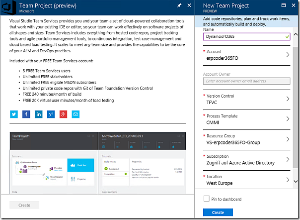 Create Visual Studio Team Services project in Azure Portal