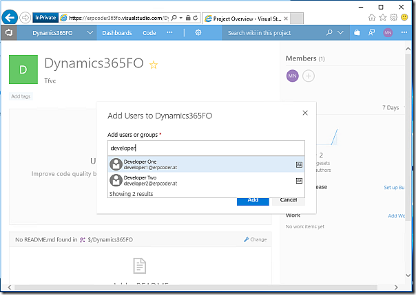 Add developer accounts to Dynamics 365 FO project
