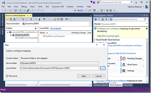 Map Source Control Folder in Visual Studio