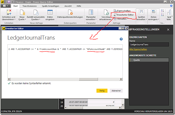 Parameters in PowerBI query