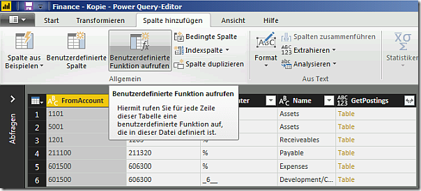 PowerBI calling user defined function