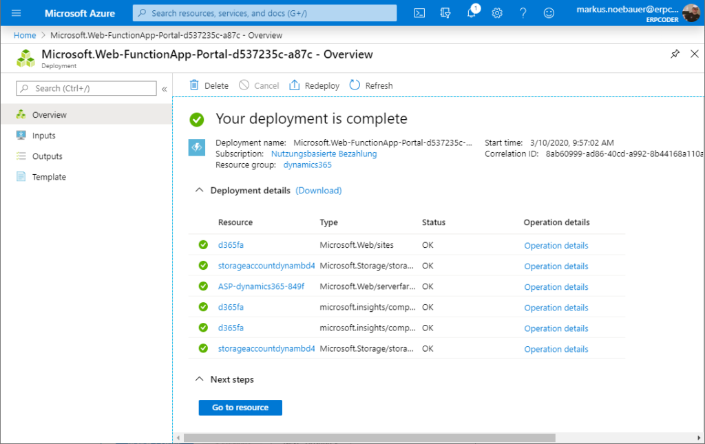 Deploy the Azure Function App