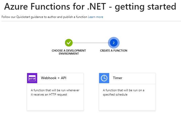 Use webhook for the Azure Function