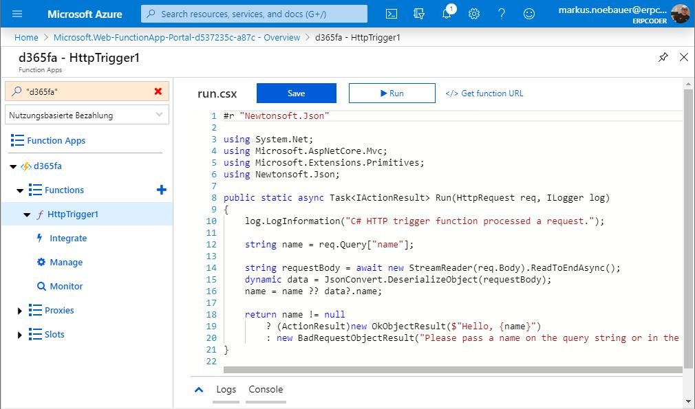 C# Azure Function code