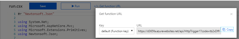 Copy the Azure Function URL with function key
