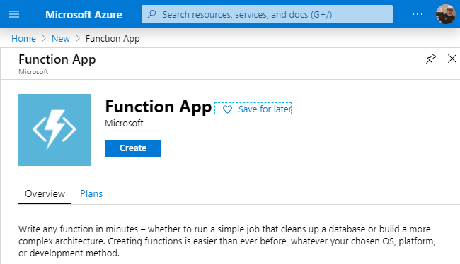 Create a Azure Function App