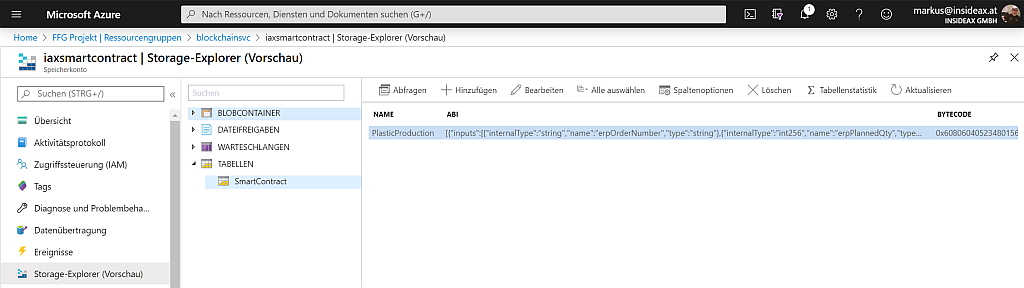 Store ABI and Bytecode in Azure Storage Account