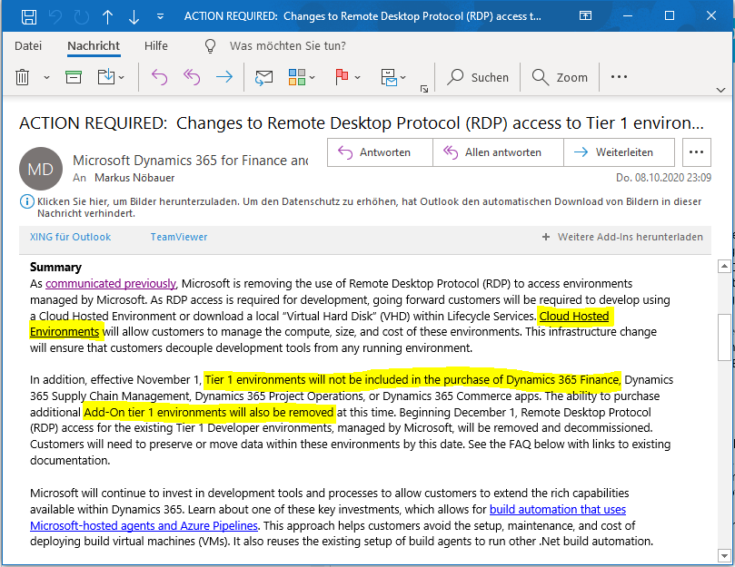 Microsoft托管的Dynamics 365 Finance Tier1沙盒已停用:切换到云托管 / Microsoft-hosted Dynamics 365 Finance Tier1 Sandboxes are dicontinued: Switch to Cloud-Hosted