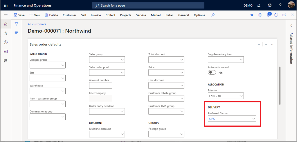 Preferred Carrier field in Dynamics 365 Finance and Supply Chain Management