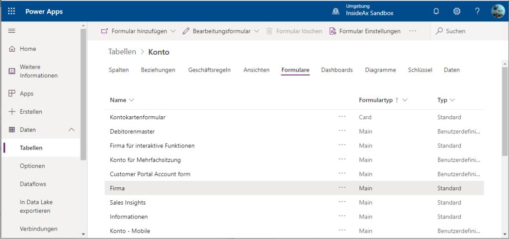 Dynamics 365 Dataverse Account entity