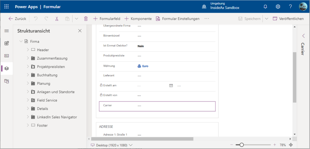 Add carrier to Dynamics 365 Sales Account Form