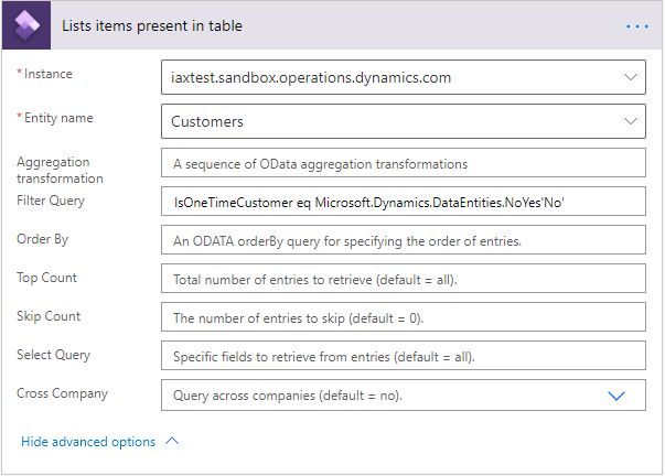Filter on NoYes field in Dynamics 365 Finance Connector